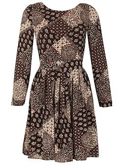 Paisley Print Full Sleeve Tie Back Dress