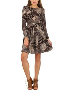 TENKI Paisley Print Full Sleeve Tie Back Dress