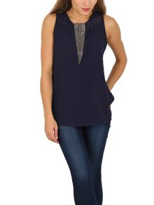 TENKI Sleeveless Beads Embellished Party Top