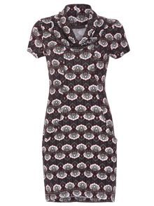 TENKI Cown Neck Patterned Tunic Dress
