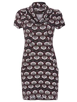 Cown Neck Patterned Tunic Dress