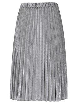 Shiny Metallic Pleated Midi Skirt