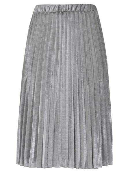 TENKI Shiny Metallic Pleated Midi Skirt