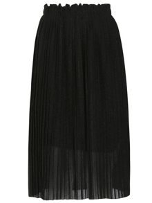 TENKI Shiny Pleated Metallic Midi Skirt