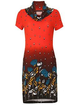Water Drop and Flower Print Tunic Dress
