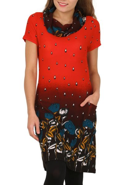TENKI Water Drop and Flower Print Tunic Dress