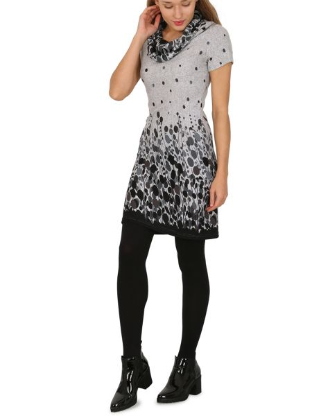 TENKI Cowl Neck Dot And Line Print Tunic Dress