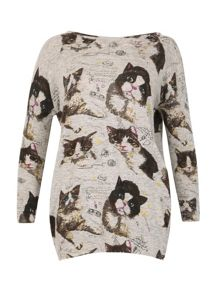 TENKI Full Sleeve Animal Cat Print Jumper