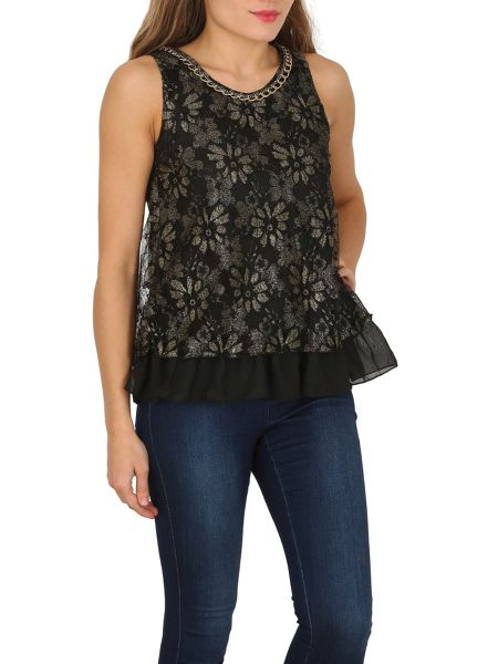 TENKI Lace Chain Embellished Party Top