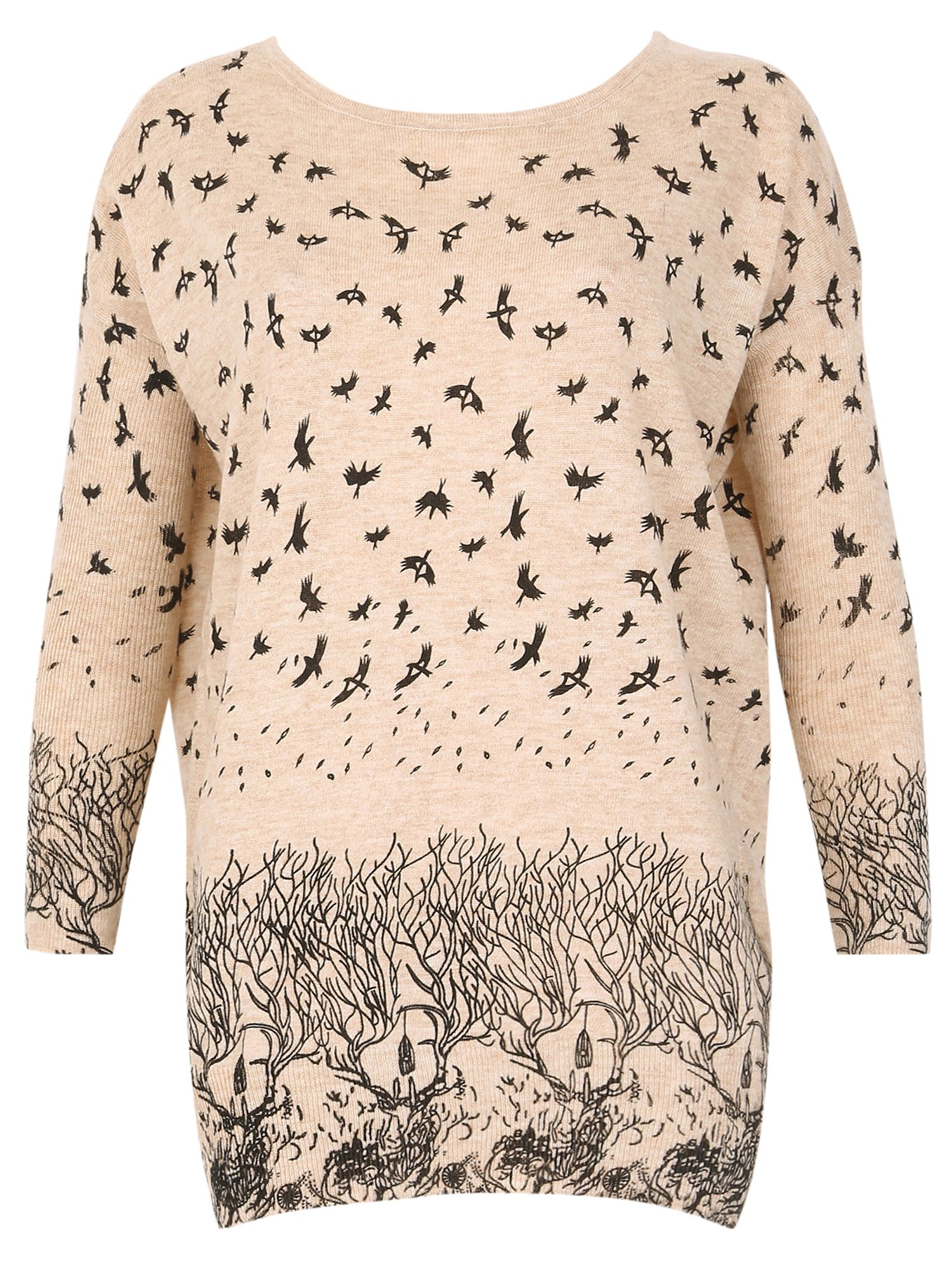 TENKI Bird And Tree Print Full Sleeve Jumper Beige