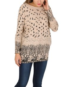 TENKI Bird And Tree Print Full Sleeve Jumper