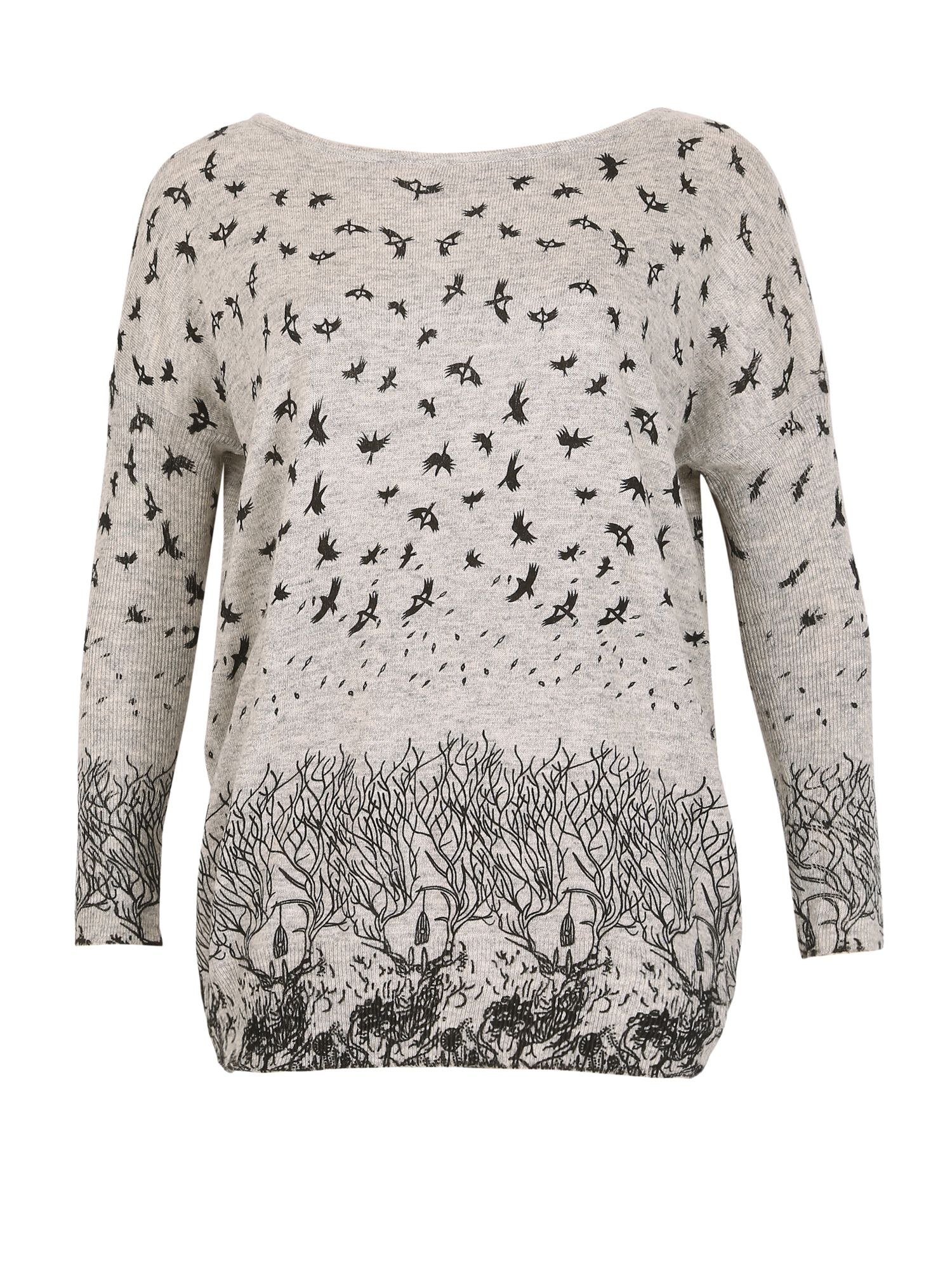 TENKI Bird And Tree Print Full Sleeve Jumper Grey