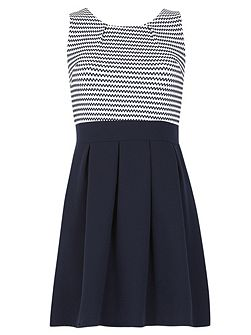 Sleeveless Two Tone Skater Dress