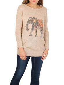 TENKI Elephant Print Full Sleeve Jumper