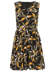 TENKI V-Neck Tropical Print Skater Dress