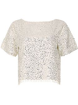ShortSleeve Sequin Embroidered Party Top