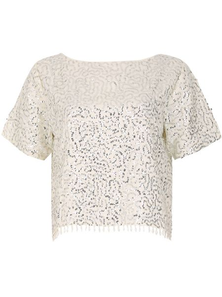TENKI ShortSleeve Sequin Embroidered Party Top