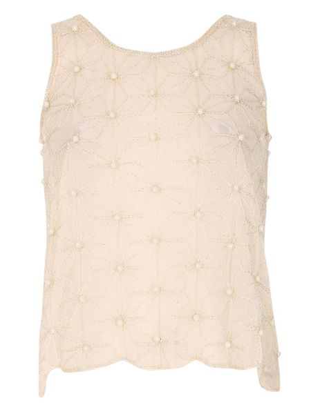 TENKI Sleeveless Beads Embroidered Party Top