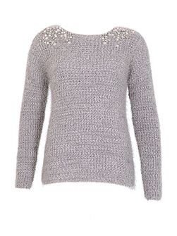 Pearl Embellished Knitted Jumper