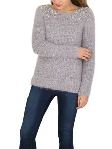 TENKI Pearl Embellished Knitted Jumper