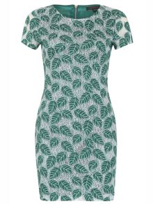 TENKI Cap Sleeve Leaf Print Bodycon Dress