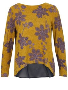 TENKI Flower Pattern Heavy Fabric Top Jumper