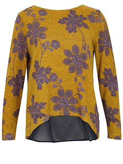 Flower Pattern Heavy Fabric Top Jumper