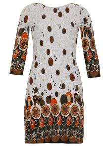 TENKI Quarter Sleeve Geo Print Tunic Dress