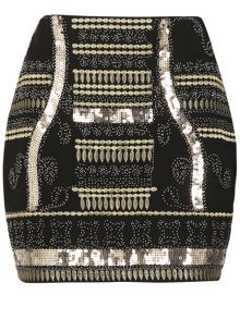 TENKI Beads & Sequin Party Mini Skirt