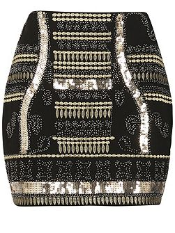 Beads & Sequin Party Mini Skirt