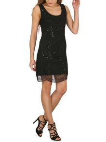 TENKI Sequin & Beads Embellished Party Dress