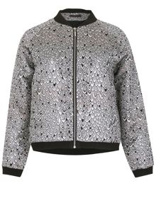 TENKI Full Sleeve Shiny Pattern Bomber Jacket