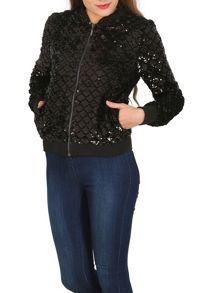 TENKI Sequin Embellished Party Bomber Jacket