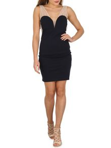TENKI Pearl Embroidered Bodycon Party Dress