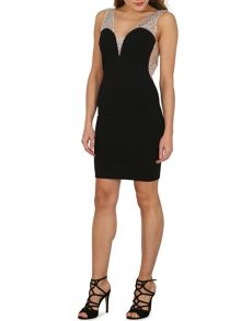 TENKI Stone Embroidered Bodycon Party Dress
