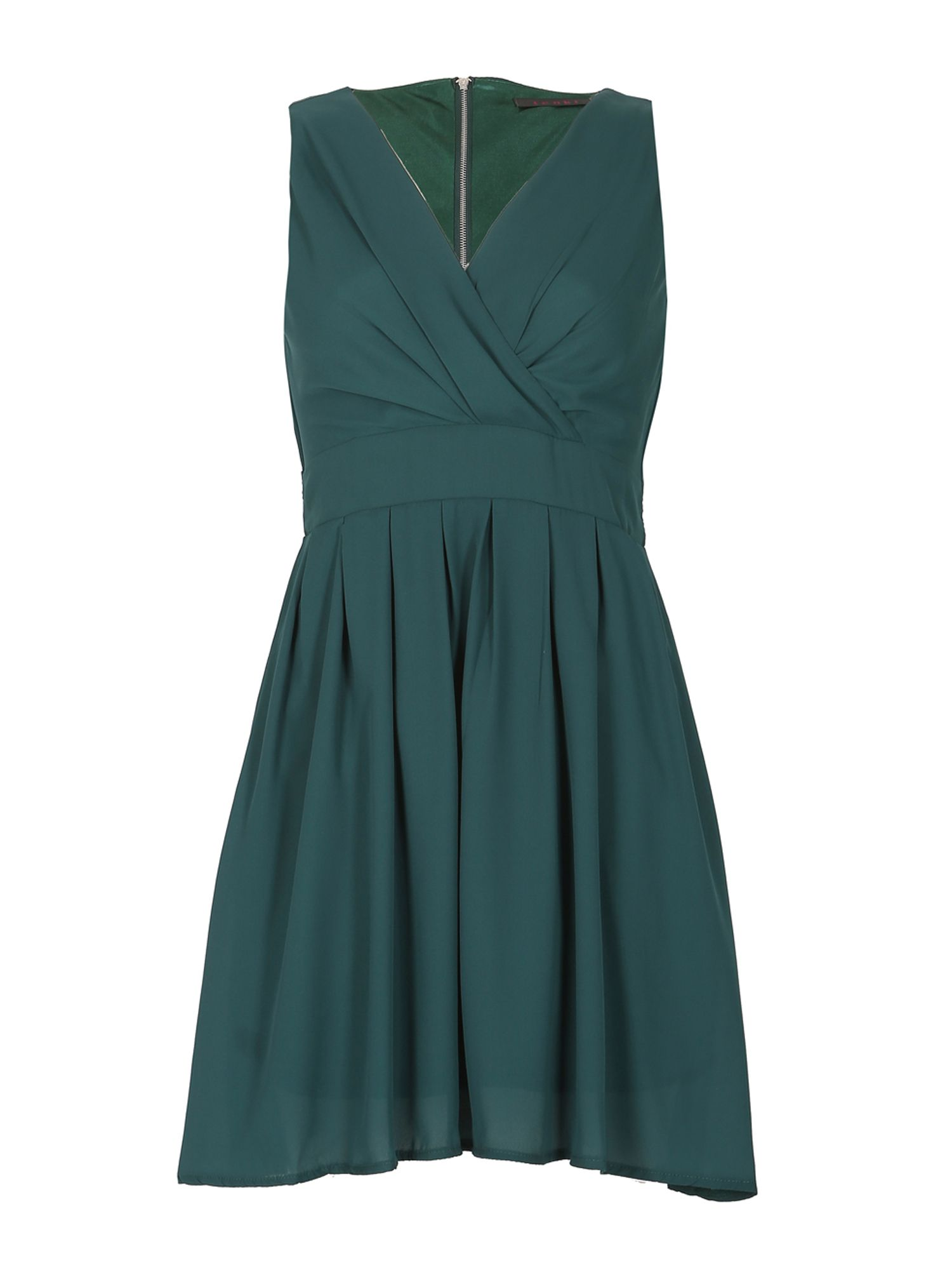 TENKI V-Neck Pleated Plain Skater Dress, Green