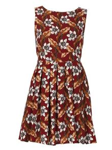 TENKI Floral Print Tie Back Skater Dress