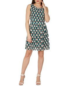 TENKI Sleeveless Geo Patterned Skater Dress