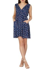 TENKI V-Neck Bird Print Two Pocket Tea Dress