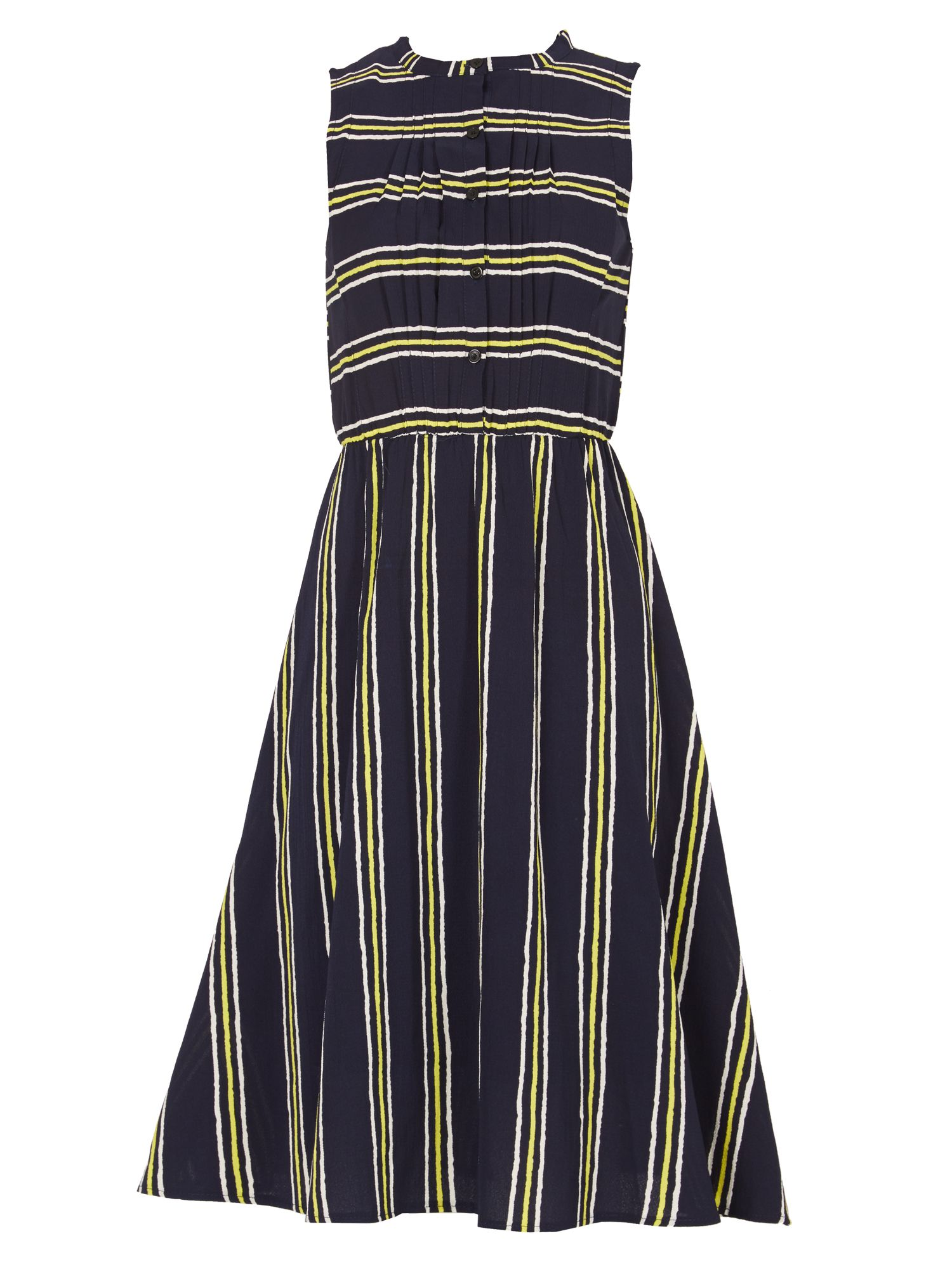 TENKI Sleeveless Stripy Midi Dress, Blue