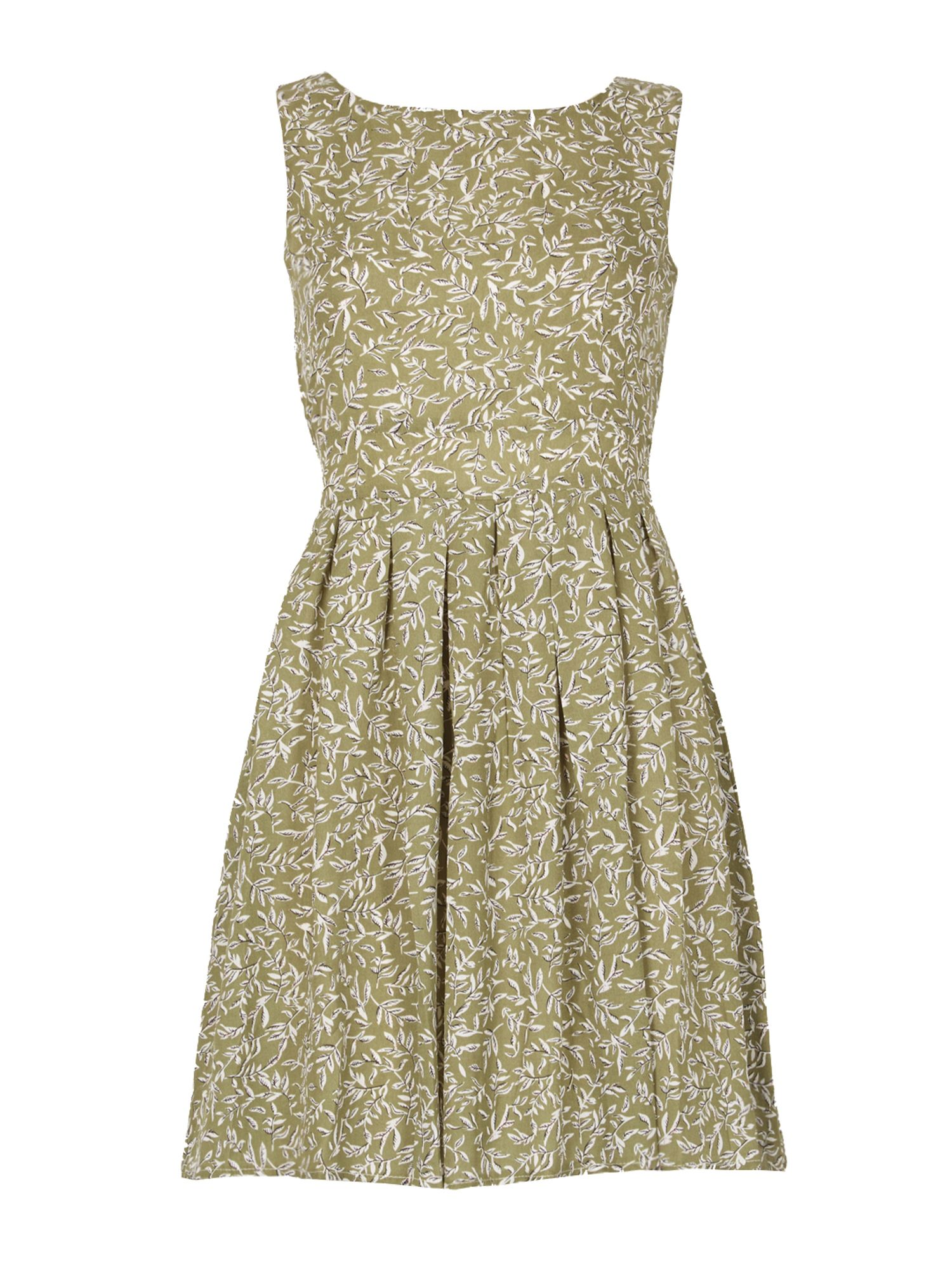 TENKI Sleeveless Leaf Print Skater Dress, Green