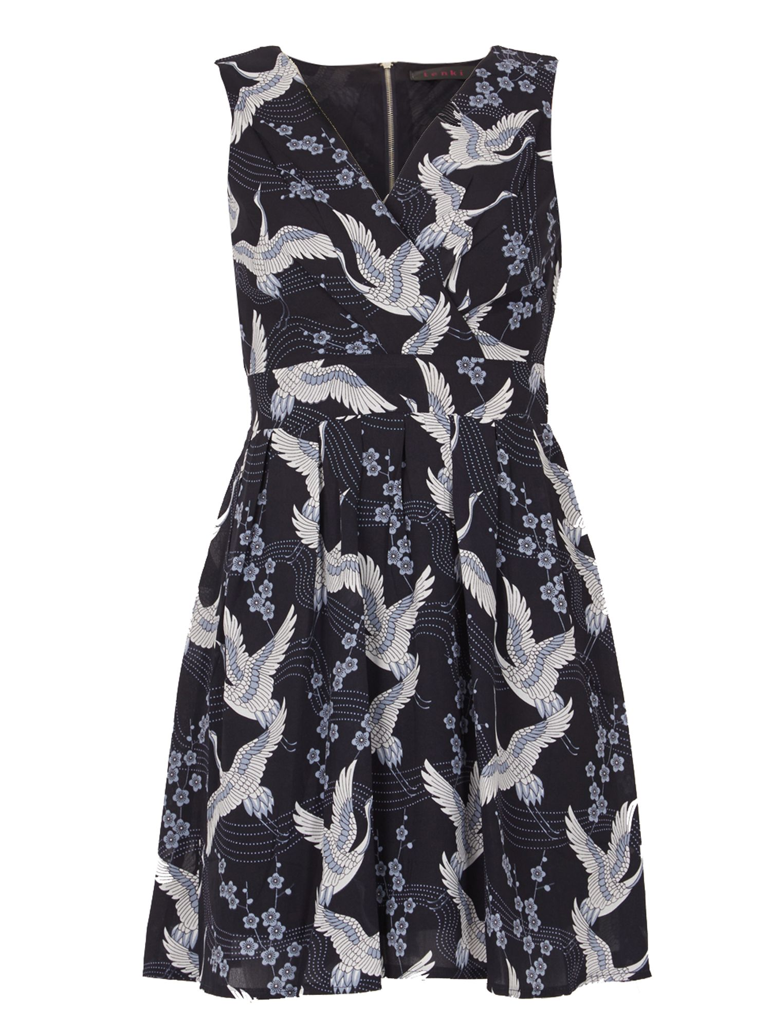 TENKI V-Neck Bird Print Skater Dress, Blue