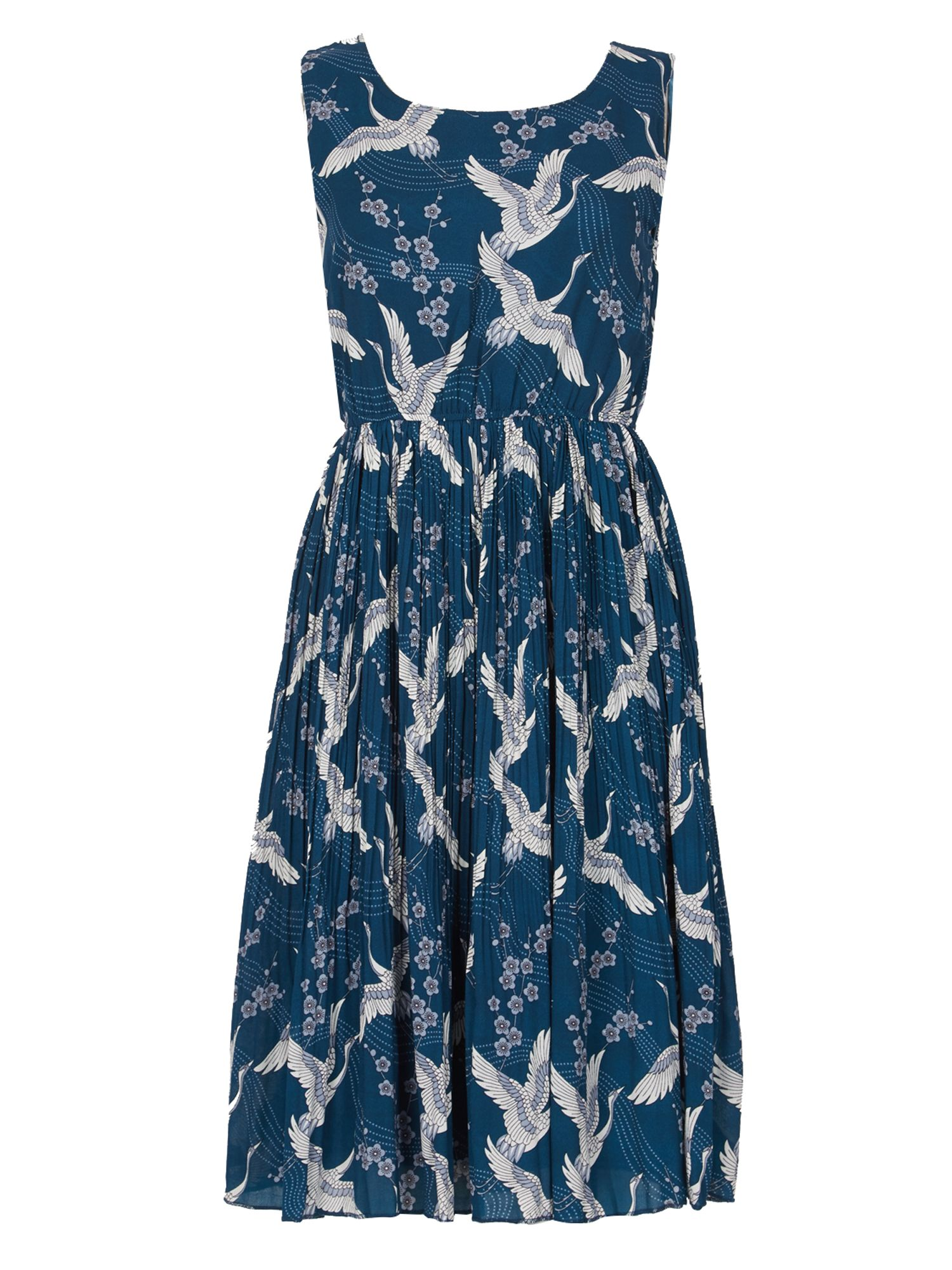 TENKI Sleeveless Bird Print Midi Dress, Teal