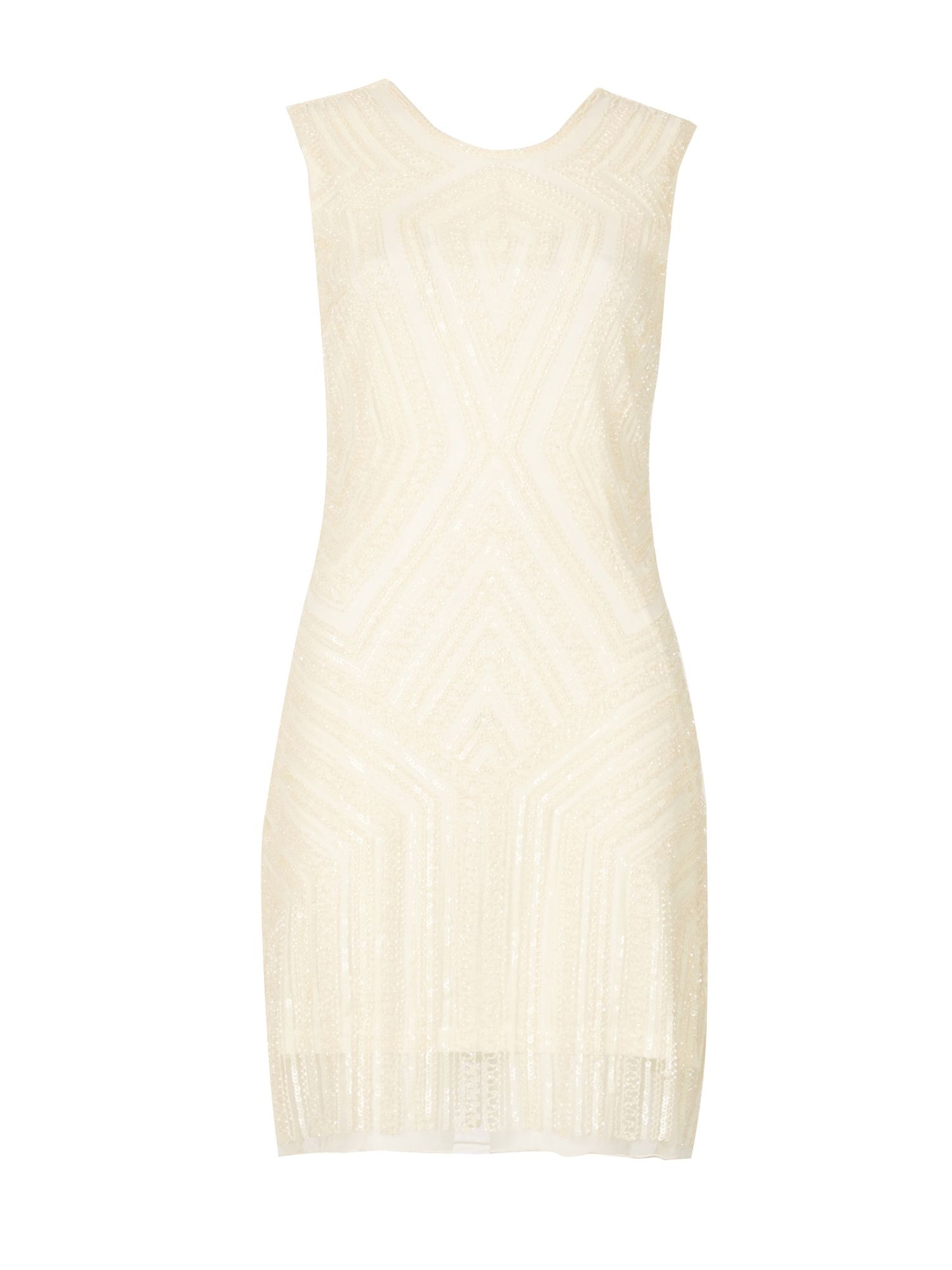 TENKI Beads Sequin Geo Embroidered Shift Dress, Brown