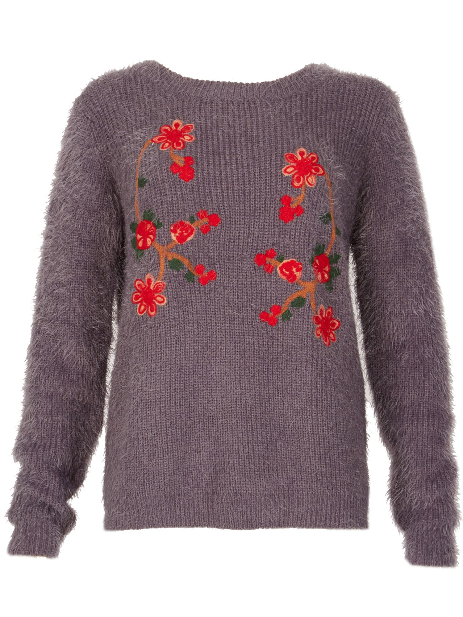 TENKI Floral Embroidered Jumper, Grey