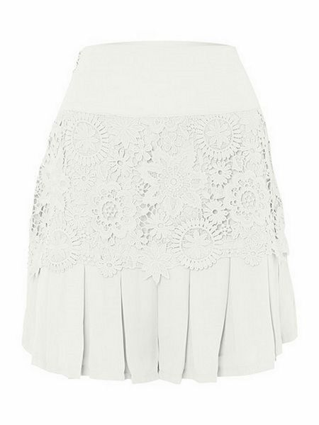 Jolie Moi Crocheted lace pleated shorts