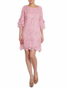 Crocheted lace 3/4 sleeve dress