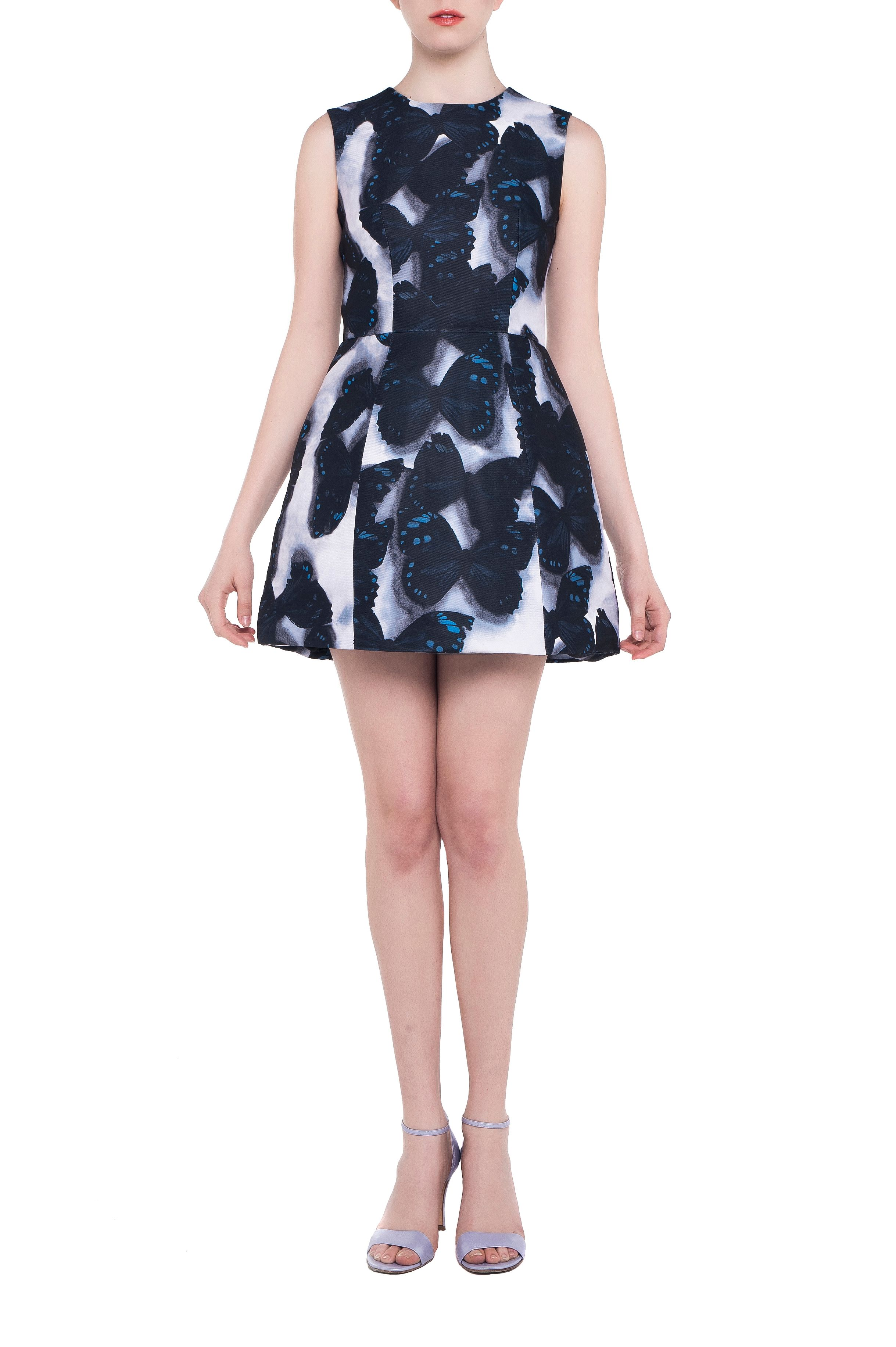 Butterfly print boned bell dress