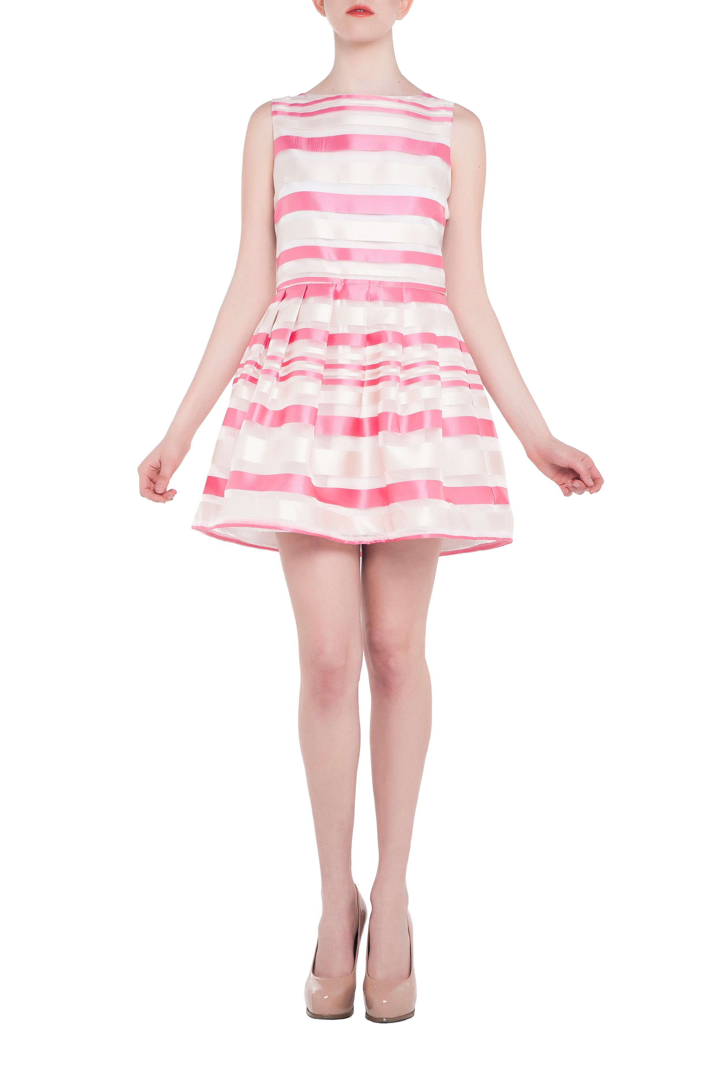 Lace stripe jacquard skater dress