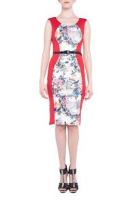 Jolie Moi Floral Insert Bodycon Dress